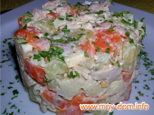 Салат с курицей картошкой