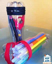 как сделать пенал из пластиковой бутылки самому
