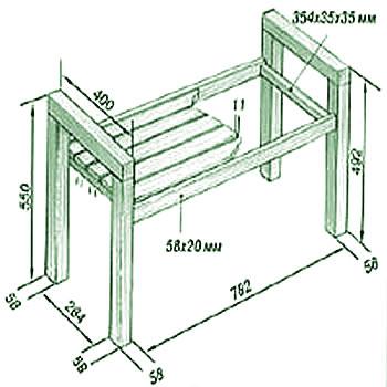 Садовая скамейка - размеры