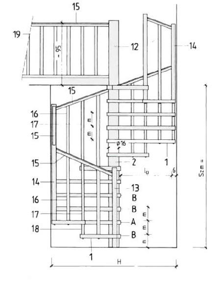 чертеж винтовой лестницы.